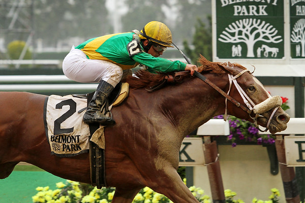 Madefromlucky (Lookin At Lucky) and jockey Javier Castellano win the Peter Pan (Gr II) at Belmont Park 5/9/15. Trainer: Todd Pletcher. Owner: Mac Nichol & Cheyenne Stables LLC