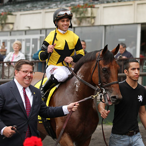 Twilight Eclipse (Purim) and jockey Javier Castellano win the Man O'War (Gr I) at Belmont Park 5/9/15. Trainer: Tom Albertrani. Owner: West Point Thoroughbreds