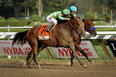 Keen Ice (Curlin) and jockey Javier Castellano wins the Travers (Gr I) at Saratoga Racecourse 8/29/15. Trainer: Dale Romans. Owner: Donegal Racing