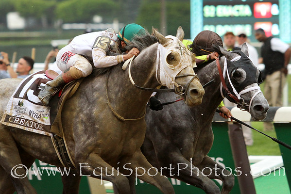 Creator (Tapit) and jockey Irad Ortiz Jr. win the Belmont Stakes (Gr I) at Belmont Park 6/11/16. Trainer: Steve Asmussen. Owner: Winstar Farm & Bobby Flay