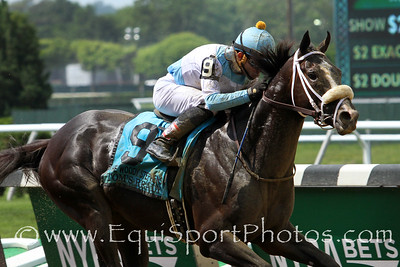 Tom's Ready (More Than Ready) and jockey Joel Rosario win the Woody Stephens (Gr II) at Belmont Park 6/11/16. Trainer: Dallas Stewart. Owner: G M B Racing