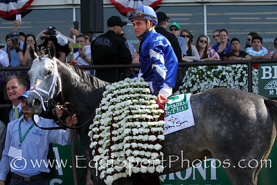 Frosted (Tapit) and jockey Joel Rosario win the Metropolitan Handicap (Gr I) at Belmont Park 6/11/16. Trainer: Kiaran McLaughlin. Owner: Godolphin Stable