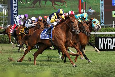Sadler's Joy (Kitten's Joy) and jockey Julien Leparoux win the Sword Dancer (Gr I) at Saratoga Racecourse 8/26/17. Trainer: Tom Albertrani. Owner: Woodslane Farm