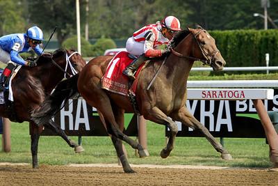 Practical Joke (Into Mischief) and jockey Joel Rosario win the H. Allen Jerkens (Gr I) at Saratoga Racecourse 8/26/17. Trainer: Chad Brown. Owner: Klaravich Stables & William Lawrence