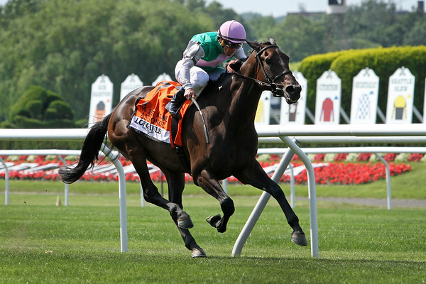 Antonoe (First Defense) and jockey Javier Castellano win the Just a Game (Gr I) at Belmont Park 6/10/17. Trainer: Chad Brown. Owner: Juddmonte Farms