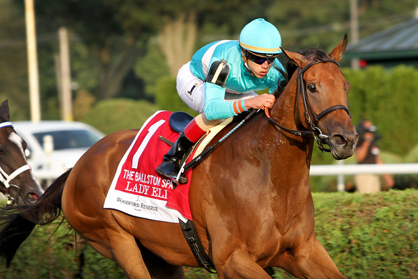 Lady Eli (Divine Park) and jockey Irad Ortiz Jr. win the Ballston Spa (Gr II) at Saratoga Racecourse 8/26/17. Trainer: Chad Brown. Owner: Sheep Pond Partners