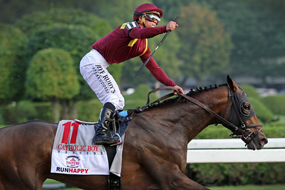 Catholic Boy (More Than Ready) and jockey Javier Castellano win the Travers (Gr I) at Saratoga Racecourse 8/25/18. Trainer: Jonathan Thomas. Owner: LaPenta, Robert V., Madaket Stables LLC, Siena Farm LLC, and Twin Creeks Racing Stables, LLC