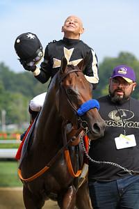 Marley's Freedom (Blame) and jockey Mike Smith win the Ballerina (Gr I) at Saratoga Racecourse 8/25/18. Trainer: Bob Baffert. Owner: Cicero Farms, LLC