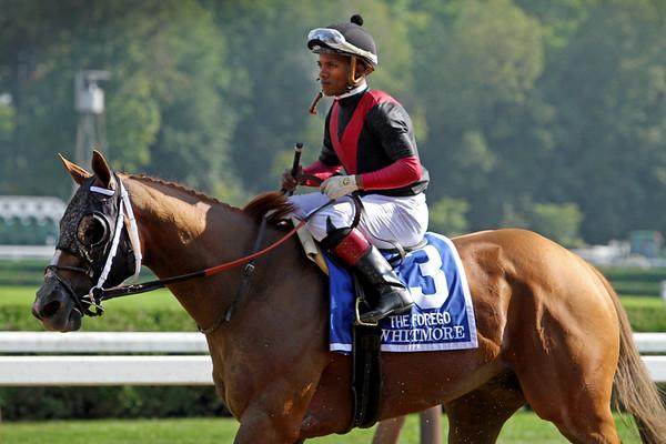 Whitmore (Pleasantly Perfect) and jockey Ricardo Santana Jr. win the Forego (Gr I) at Saratoga Racecourse 8/25/18. Trainer: Ronald E. Moquett. Owner: Robert V. LaPenta, Harry T. Rosenblum, Head of Plains Partners LLC, Southern Springs Stables