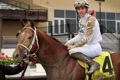 National Flag (Speightstown) and jockey Flavien Prat win the Bay Shore (Gr III) at Aqueduct Racetrack 4/7/18. Trainer: Todd Pletcher. Owner: WinStar Farm LLC, China Horse Club International Ltd. and SF Racing LLC