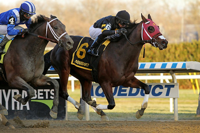 Shotski (Blame) and jockey Luis Saez win the Remsen (Gr II) at Aqueduct 12/7/19. Trainer: Jeremiah O'Dwyer. Owners: Wachtel Stable, Gary Barber, Pantofel Stable, and Mike Karty