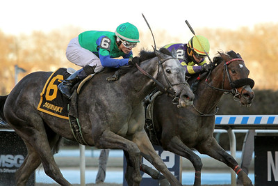 Water White (Conveyance) and jockey Jorge Vargas, Jr. win the Busher Invitational at Aqueduct Racetrack 3/7/20. Trainer: Rudy Rodriguez. Owner: E.V. Racing Stable
