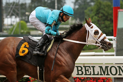 Mo Flash (Uncle Mo) and jockey Jose Lezcano win a claiming at Belmont Park 7/11/20. Trainer: Chris J. Englehart. Owner: Ronald A. Brown