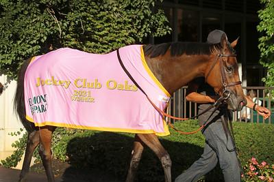 Shantisara (IRE) (Coulsty) and jockey Flavien Prat win the Jockey Club Oaks Invitational at Belmont Park 9/18/21. Trainer: Chad Brown. Owner: Michael Dubb, Madaket Stables & Robert LaPenta