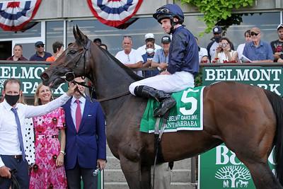 Santa Barbara (IRE) (Camelot) and jockey Ryan Moore win the Belmont Oaks Invitational (Gr I) at Belmont Park 7/10/21. Trainer: Aidan O'Brien. Owner: Michael B. Tabor, Mrs. John 'Susan' Magnier, Derrick Smith