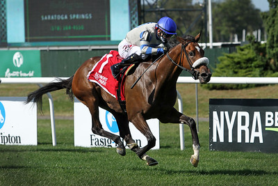 Sail By (Astern) and jockey Junior Alvarado win the Miss Grillo (Gr II) at Belmont Park 10/2/21. Trainer: Leah Gyarmati. Owner: Treadway Racing Stable