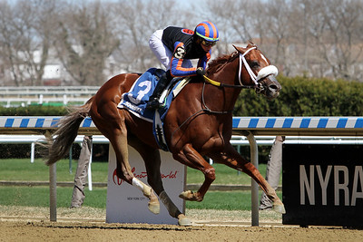 Drain the Clock (Maclean's Music) and jockey Irad Ortiz, Jr. win the Bay Shore Stakes (Gr III) at Aqueduct Racetrack 4/3/21. Trainer: Saffie A. Joseph, Jr. Owner: Slam Dunk Racing, Madaket Stables LLC, Wonder Stables and Michael Nentwig