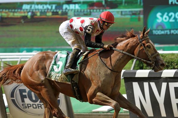 Souper Sensational (Curlin) and jockey Flavien Prat win the Victory Ride (Gr III) at Belmont Park 7/10/21. Trainer: Mark Casse. Owner: Live Oak Plantation
