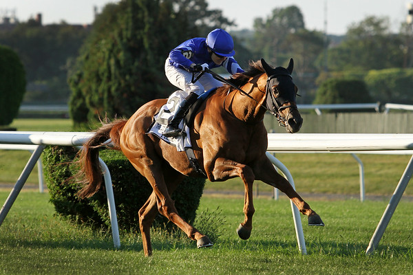 Yibir (GB) (Dubawi) and jockey Jamie Spencer win the Jockey Club Derby Invitational at Belmont Park 9/18/21. Trainer: Charlie Appleby. Owner: Godolphin Stable
