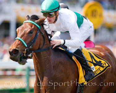 Rainbow View (Dynaformer), Julien Leparoux up, wins the Gallorette H. at Pimlico Park