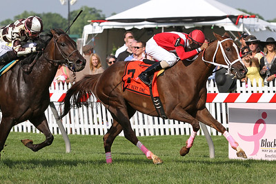 Suzzona (The Name's Jimmy) and jockey Julian Pimentel win The Very One at Pimlico Racecourse 5/20/11. Benjamin Feliciano trainer, Sandy Valley Farms owner.