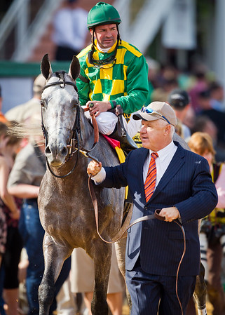 Paddy O'Prado (El Prado) wins the Dixie Stakes (G2) at Pimlico on 5.21.2011.  Kent Desormeaux up, Dale Romans trainer, Donegal Racing owner.