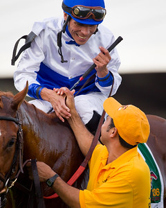 Jesus Castanon after winning the Preakness on Shackleford (Forestry) at Pimlico on 5.21.2011