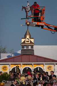 A view of the winners circle as the weather vane is painted in I'll Have Another's colors
