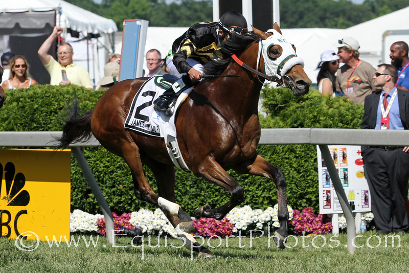 Skyring (English Channel) and jockey Joel Rosario win the James W Murphy Stakes at Pimlico Racecourse 5/19/12. Trainer: D Wayne Lukas. Owner: Bluegrass Hall LLC