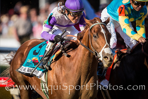 I'll Have Another (Flower Alley) nips Bodemeister at the wire to win the Preakness Stakes at Pimlico on 5.19.2012. Mario Gutierrez up, Doug O'Neill trainer, Reddam Racing owner.  Photo: Wendy Wooley/EquiSport Photos