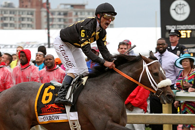 Oxbow (Awesome Again) and jockey Gary Stevens win the Preakness Stakes (Gr I) at Pimlico Racecourse 5/18/13. Trainer: D Wayne Lukas. Owner: Calumet Farm