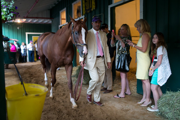California Chrome (Lucky Pulpit) wins the Preakness Stakes at Pimlico on 5.17.2014. Victor Espinoza up, Art Sherman trainer, Dumb Ass Partner (Steven Coburn and Perry Martin) owners.