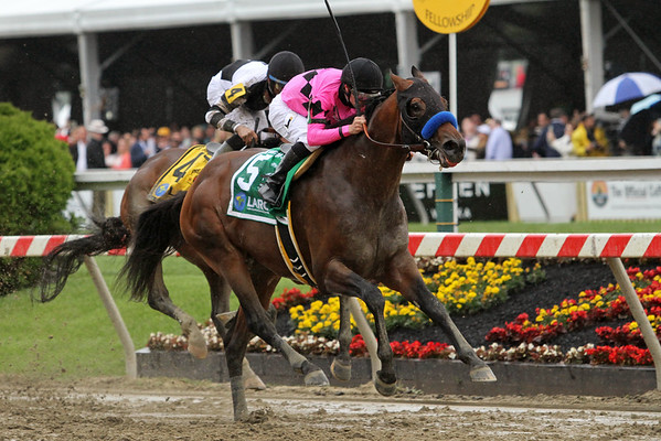 American Freedom (Pulpit) and jockey Florent Geroux win the Sir Barton Stakes at Pimlico Racecourse 5/21/16. Trainer: Bob Baffert. Owner: Gary & Mary West