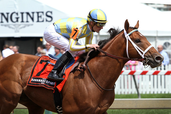 Noble Bird (Birdstone) and jockey Julien Leparoux win the Pimlico Special (Gr III) at Pimlico Racecourse 5/20/16. Trainer: Mark Casse. Owner: John C. Oxley