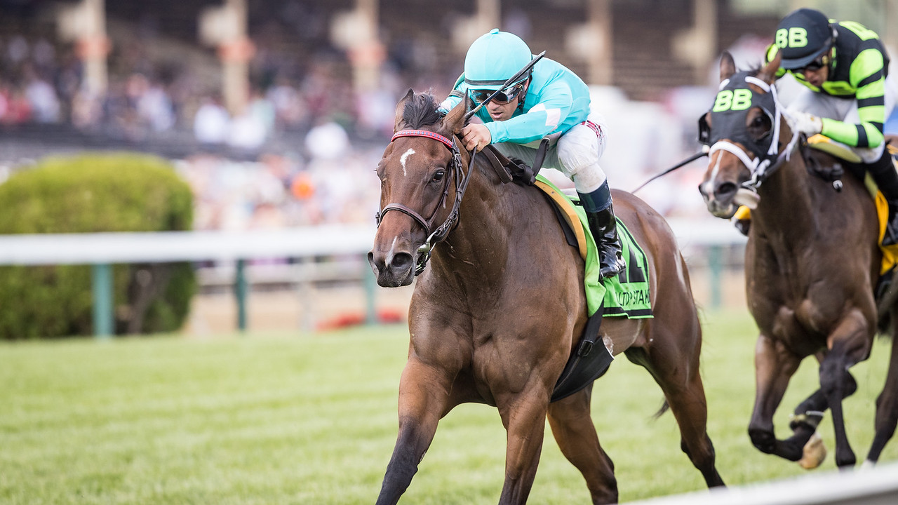 Happy Mesa (Sky Mesa), Javier Castellano up, wins the Hilltop Stakes at Pimlico 5.19.17. Trainer: H. Graham Motion Owner: Great Point Stables LLC, Highclere America, Zoom and Fish Stable Inc. et al.