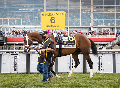 Rombauer (Twirling Candy) wins the Preakness Stakes (G1) at Pimlico on 5.15.21. Flavien Prat up, Michael McCarthy trainer, John and Dianne Fradkin owners.