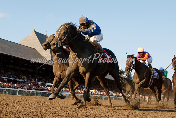 Pyro (Pulpit), John Velazquez up, wins the Forego Stakes at Saratoga 9.05.2009 (EquiSport Photos)