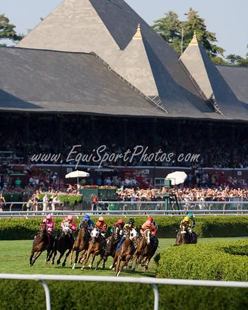 Saratoga Turf Race won by Classic Campaign (Rahy), Edgar Prado up (blue cap), 9.04.2009 (EquiSport Photos)