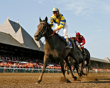 Street Sense, with Calvin Borel up, wins the Jim Dandy Stakes at Saratoga Race Course, Saratoga Springs, NY. 7.29.2007 (credit, EquiSportPhotos)
