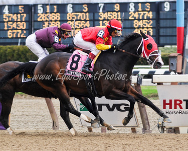 Giant Moon (Giant's Causeway), Edgar Prado up, wins the Excelsior at Aqueduct 4.4.09db (EquiSport Photos)