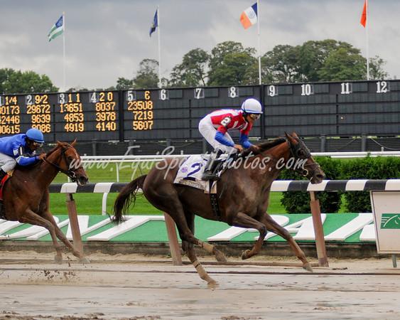 Swift Temper (Giant's Causeway), Alan Garcia up, wins the Ruffian H. at Belmont 9.13.2009db (EquiSport Photos)
