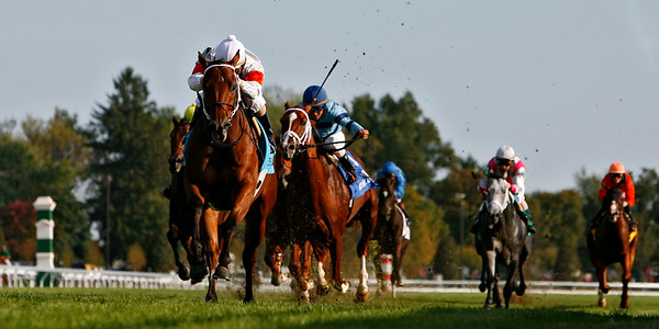 Inca King, Shaun Bridgmohan up, wins the Bryan Station Stakes at Keeneland Race Course. 10.14.2007
