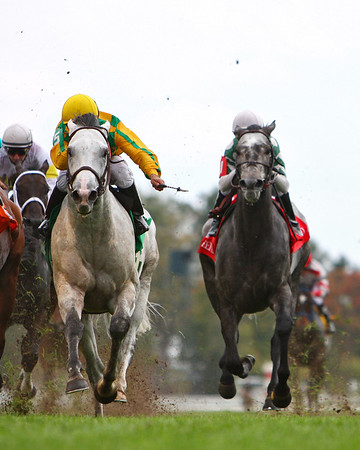 Fort Prado, left, with Rene Douglas up, wins the Woodford Stakes at Keeneland Race Course. Lexington, KY. 10.18.2007