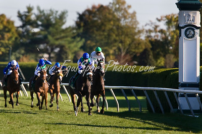 Herboriste (Hernando, blue cap), Julien Leparoux up, wins the Rood & Riddle Dowager S. (L) at Keeneland 10.19.2008mw ( Horse Racing Photos by EquiSport Photos )