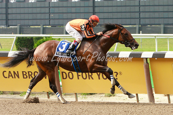 Mint Lane (Maria's Mon), Eibar Coa up, wins the Dwyer H. at Belmont Park. 7.06.2008sk ( Horse Racing Photos by EquiSport Photos )