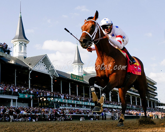Big Brown (Boundary), Kent Desormeaux up, wins the 134th Kentucky Derby at  Churchill Downs. 5.03.2008  ( Horse Racing Photos by EquiSport Photos )