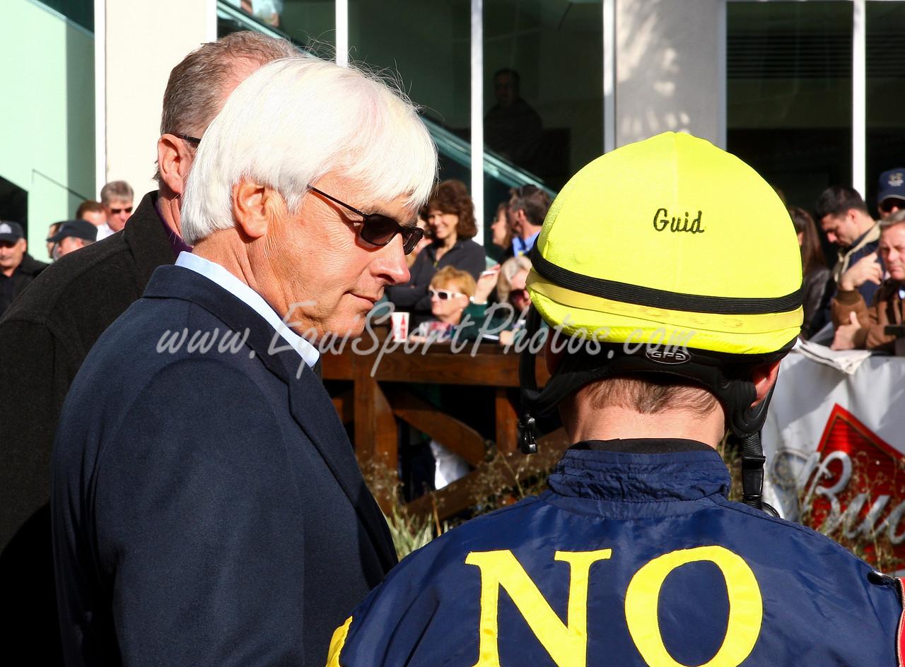 Bob Baffert with Garrett Gomez at Fair Grounds. 3.08.2008