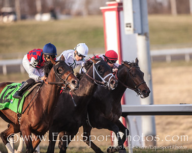Dubai Sky (Candy Ride) wins the Spiral Stakes (G3) at Turfway Park on 3.21.15. Jose Lezcano up, Bill Mott trainer, Three Chimneys Farm owner.