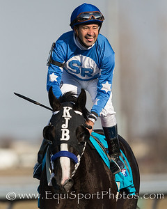 Joe Bravo celebrating after his win on Black Onyx (Rock Hard Ten) in the Spiral Stakes at Turfway Park on 3.23.13.