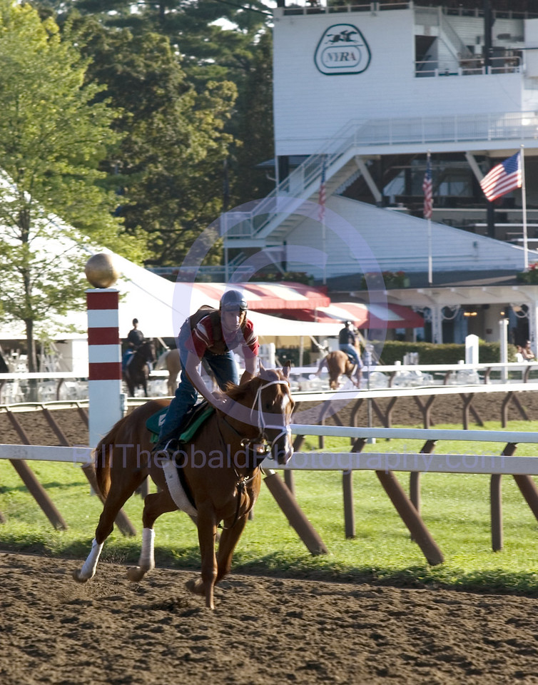 Coming around the Clubhouse turn at Saratoga.